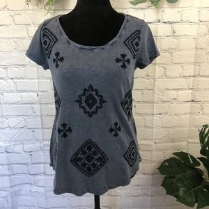 Lucky Brand blue embroidered t shirt